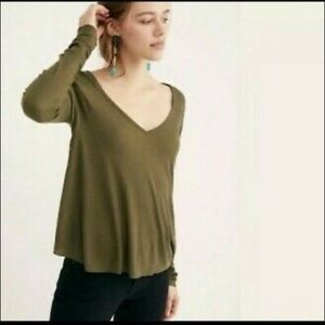 Free People Olive Green Thermal Long Sleeve